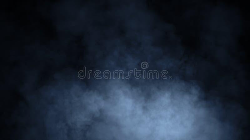 Movimientos azules abstractos del vapor del humo en un fondo negro El concepto de aromatherapy Elemento del dise?o fotografía de archivo