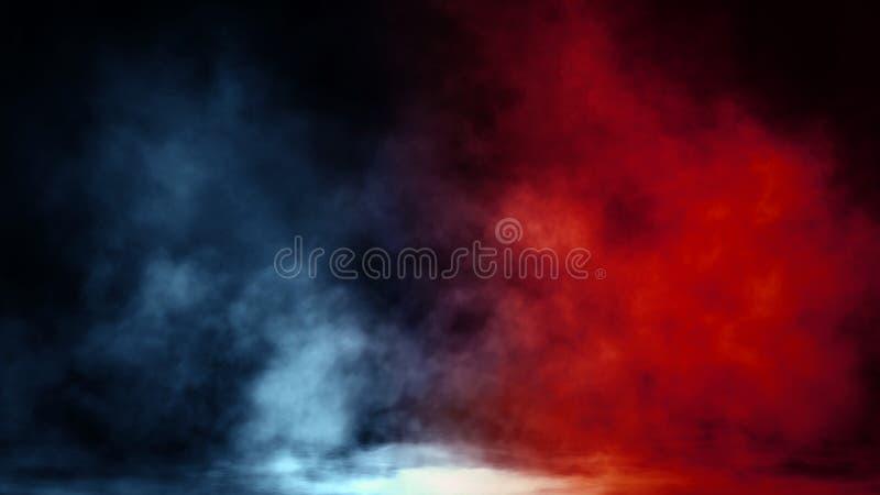 Movimientos azules y rojos abstractos del vapor del humo en un fondo El concepto de aromatherapy foto de archivo