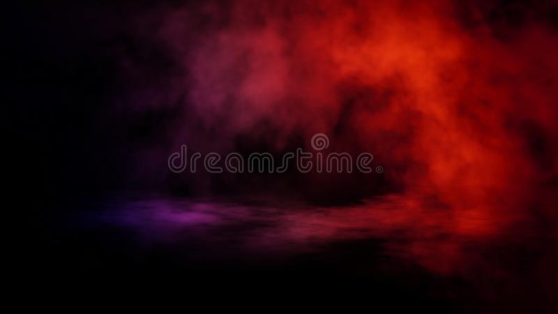 Movimientos azules y rojos abstractos del vapor del humo en un fondo El concepto de aromatherapy fotos de archivo