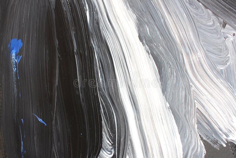 Movimientos blancos y negros del cepillo en lona Fondo del arte abstracto Textura del color Fragmento de las ilustraciones Pintur libre illustration