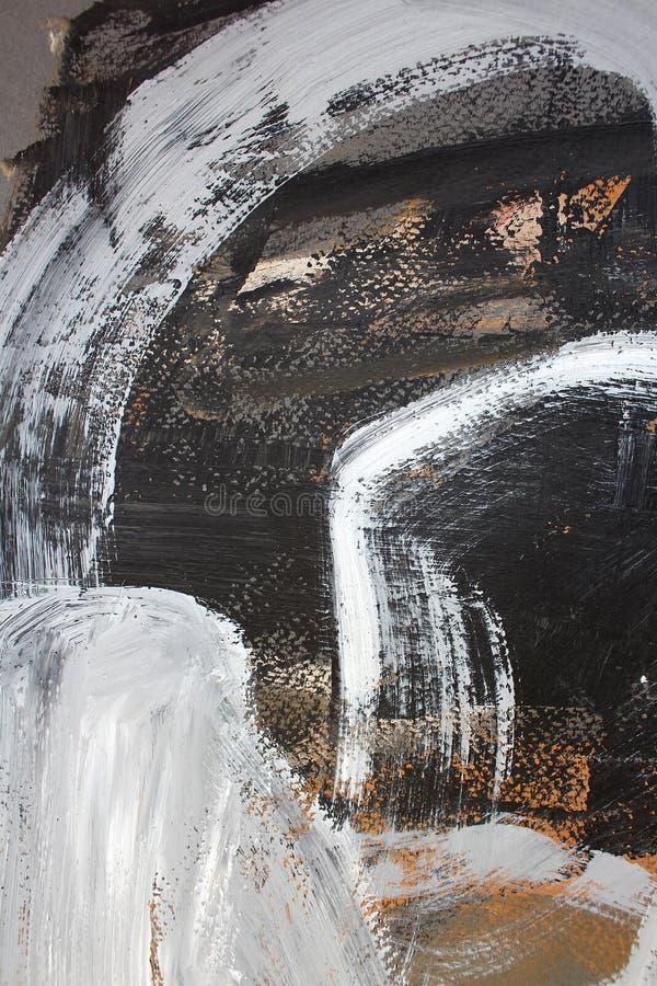 Movimientos blancos y negros del cepillo en lona Fondo del arte abstracto Textura del color Fragmento de las ilustraciones Pintur ilustración del vector