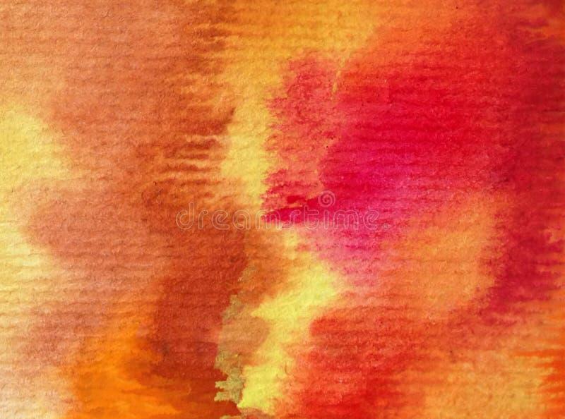 Movimientos calientes texturizados coloridos del otoño del extracto del fondo del arte de la acuarela foto de archivo libre de regalías