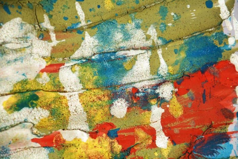 Movimientos cerosos en colores pastel anaranjados verdes de plata blancos del fondo y del cepillo de los puntos del rojo azul, to foto de archivo