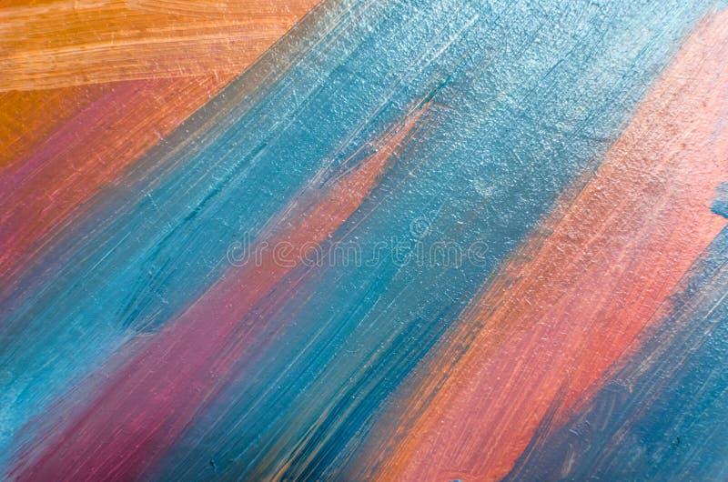 Movimientos coloreados en lona con un cepillo, líneas abstractas del aceite imagenes de archivo