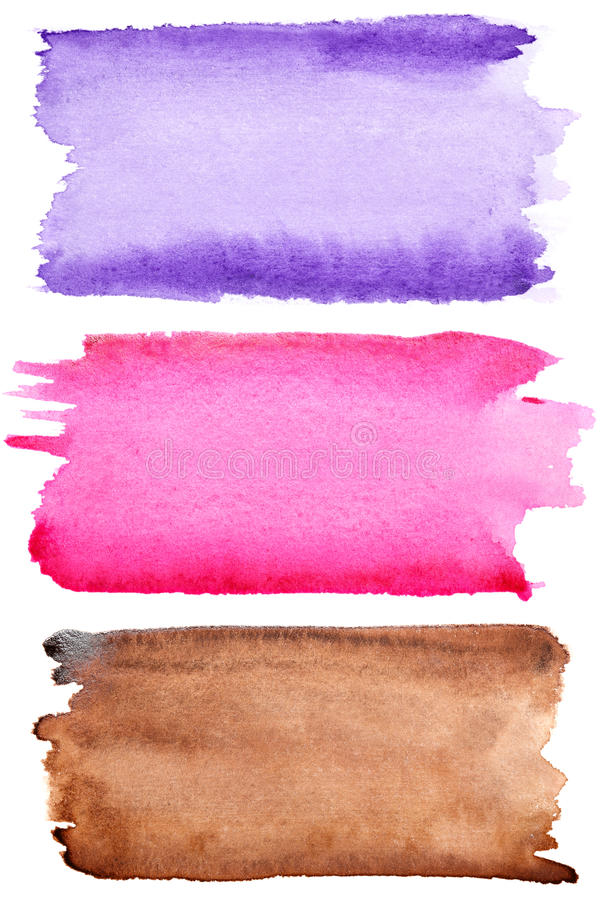 Movimientos coloridos del cepillo de la acuarela imagen de archivo