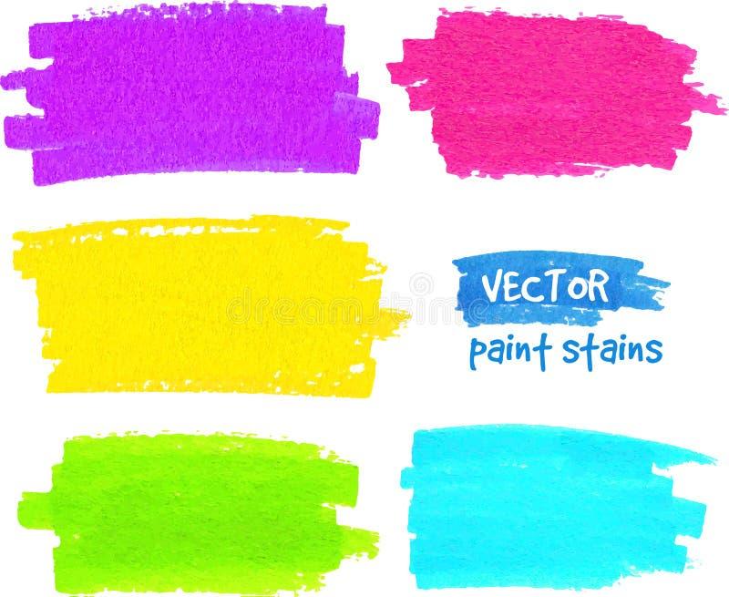 Movimientos coloridos del vector de la brocha del arco iris ilustración del vector