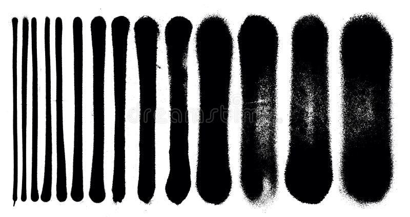 Movimientos de la pintura de espray del grunge de la pintada y t detallados stock de ilustración