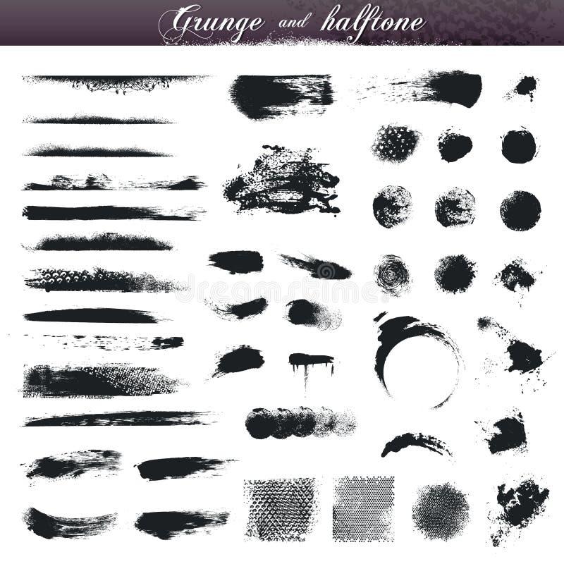 Movimientos del cepillo de Grunge ilustración del vector