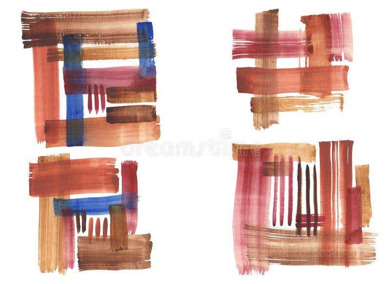 Movimientos del cepillo de la acuarela stock de ilustración
