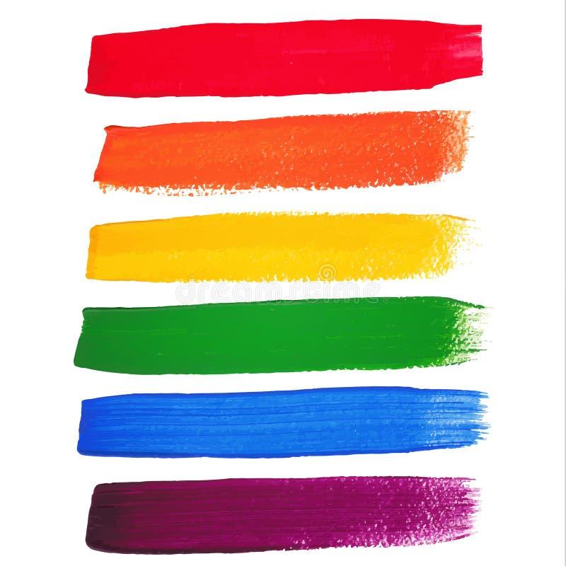 Movimientos del cepillo de la acuarela del arco iris del vector stock de ilustración