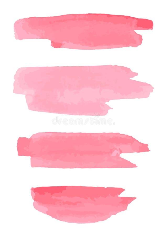 Movimientos del cepillo de la acuarela Fondo rosado del extracto de la acuarela ilustración del vector
