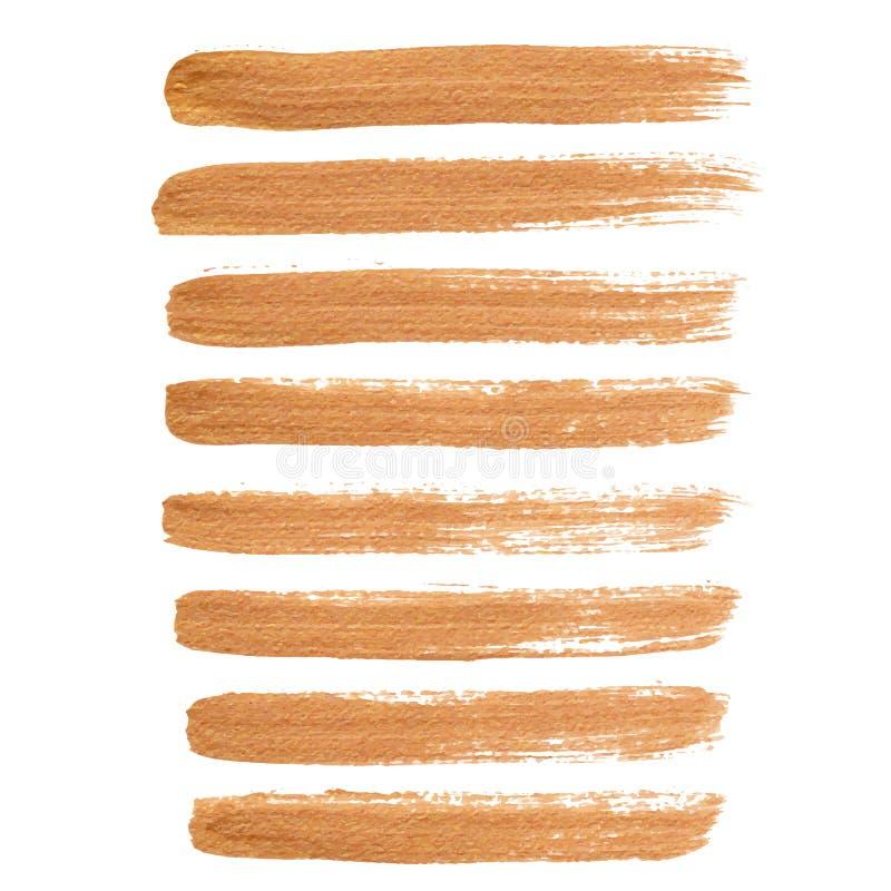 Movimientos del cepillo de la tinta del oro ilustración del vector