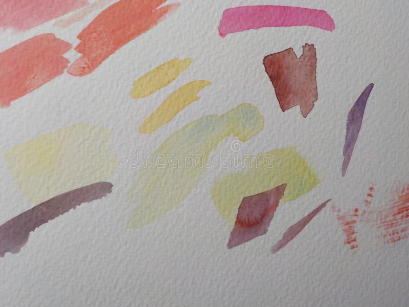 Movimientos del cepillo de pintura del Watercolour en el Libro Blanco imagenes de archivo