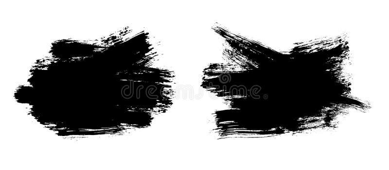Movimientos del cepillo Sistema de la brocha del vector Elementos del dise?o de Grunge stock de ilustración