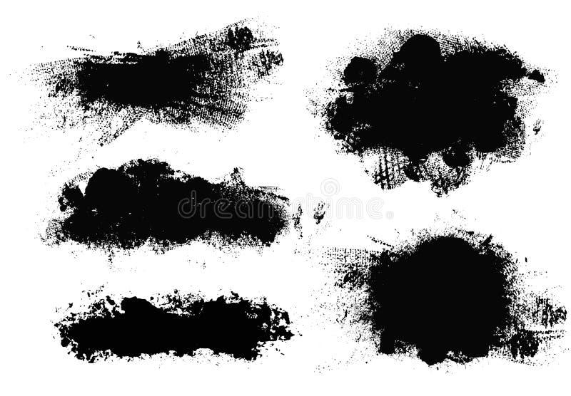 Movimientos del cepillo Sistema de la brocha del vector Elementos del dise?o de Grunge ilustración del vector