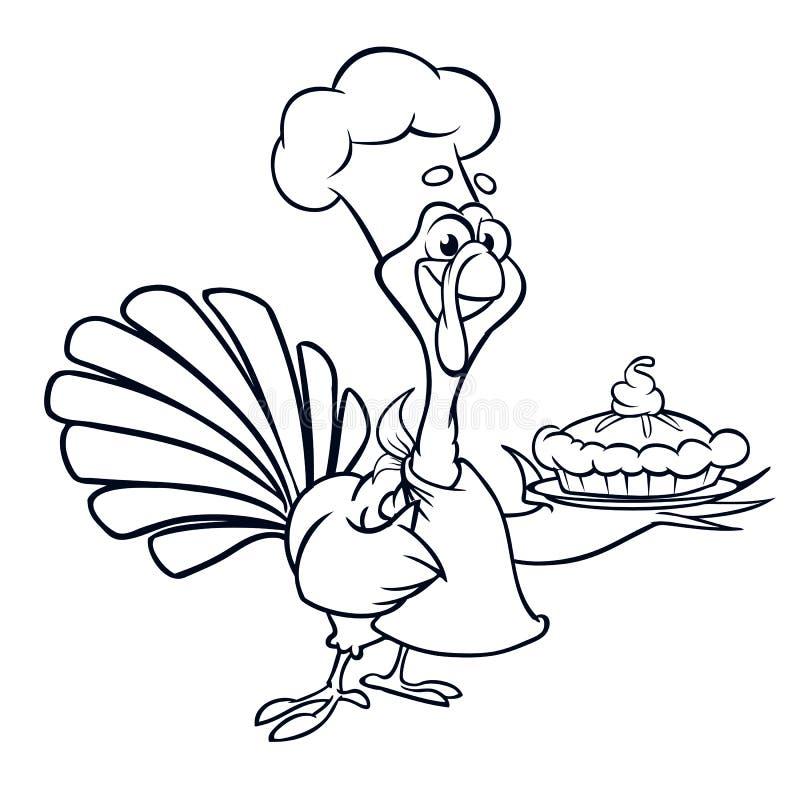 Movimientos del esquema del pastel de calabaza de la porción del cocinero del pavo divertido de la historieta de la acción de gra libre illustration