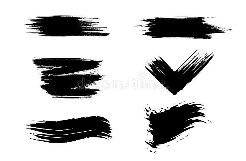 Movimientos dibujados mano del cepillo del Grunge Oscuro, diferente stock de ilustración