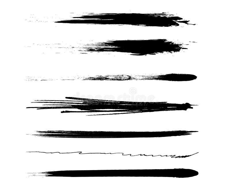 Movimientos negros del rastro del cepillo del rimel del vector ilustración del vector