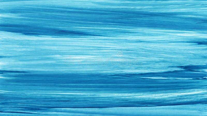 Movimientos pintados a mano blancos azules del cepillo de la acuarela Líneas azules abstractas fondo Ondas vivas de la acuarela M stock de ilustración