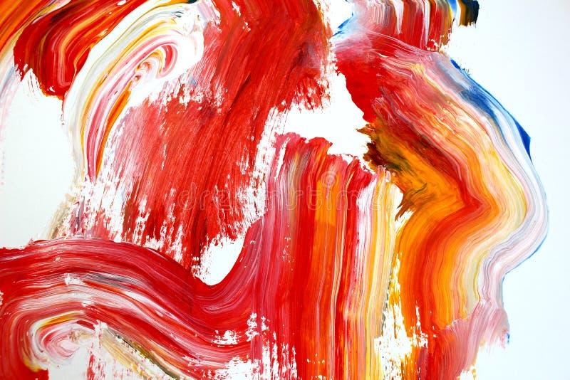 movimientos rojos ardientes del cepillo en lona Fondo del arte abstracto Textura del color Fragmento de las ilustraciones Pintura ilustración del vector