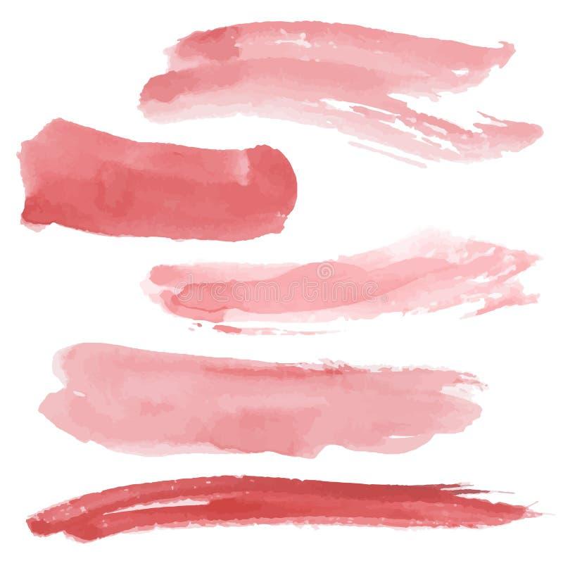 Movimientos rojos del cepillo fijados en el fondo blanco watercolor bosquejo V ilustración del vector