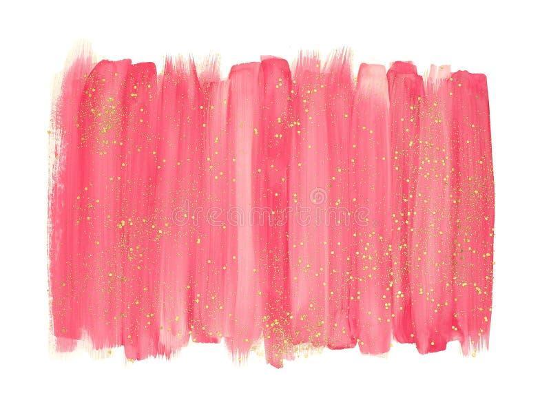 Movimientos rosados del cepillo de la acuarela con brillo del oro imágenes de archivo libres de regalías