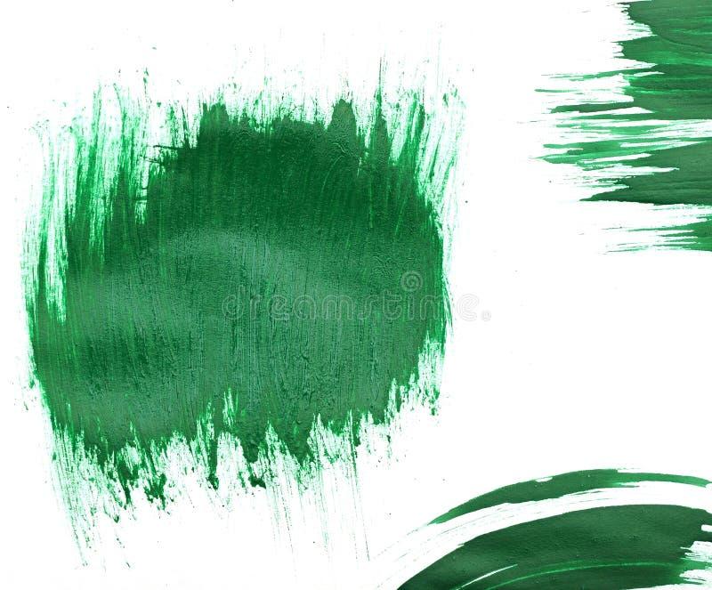 Movimientos verdes del cepillo de la acuarela imagenes de archivo