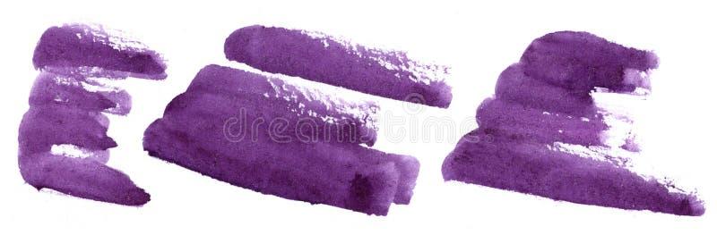 Movimientos violetas abstractos del cepillo - elementos púrpuras oscuros pintados a mano de la acuarela en el fondo blanco ilustración del vector