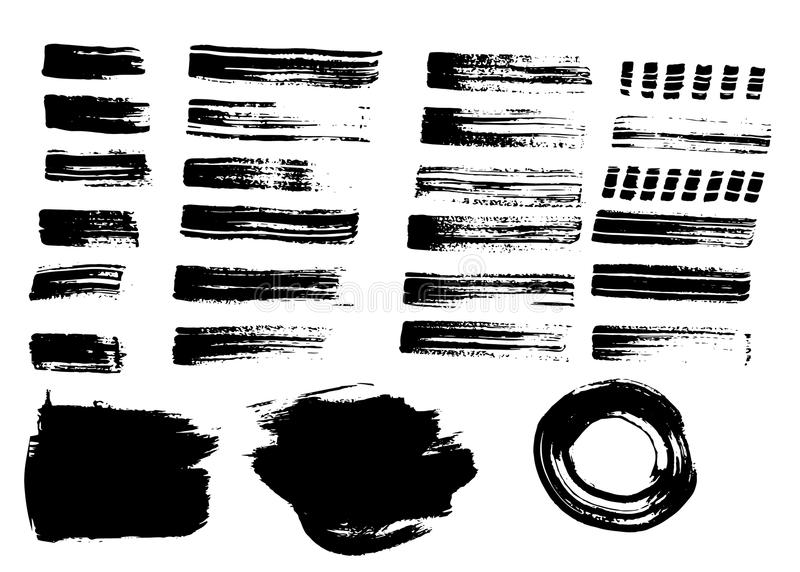 Movimientos y fondos dibujados mano del cepillo del grunge ilustración del vector
