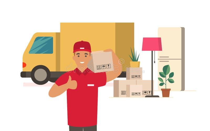 Двигая дом Работник доставляющий покупки на дом с картонными коробками иллюстрация вектора