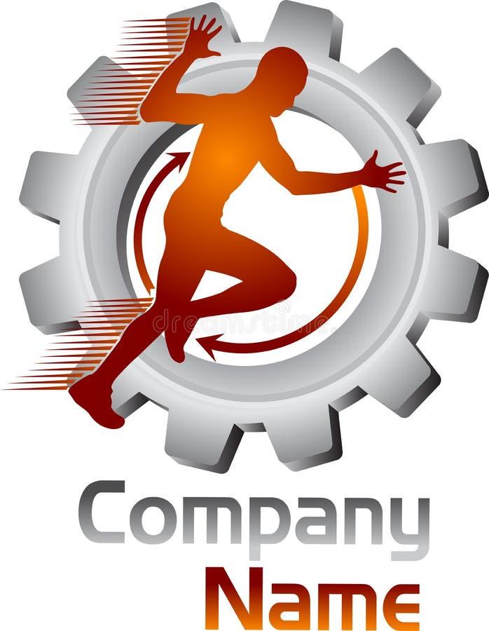 Moving логотип человека шестерни иллюстрация вектора