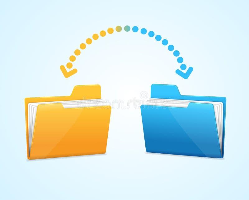 Moving документы между 2 папками иллюстрация вектора