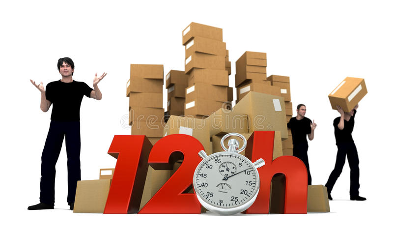 Moving in 12 Hrs. 3D rendering of piles of cardboard boxes and three workers with the words 12 Hrs and a Chronometer royalty free stock images