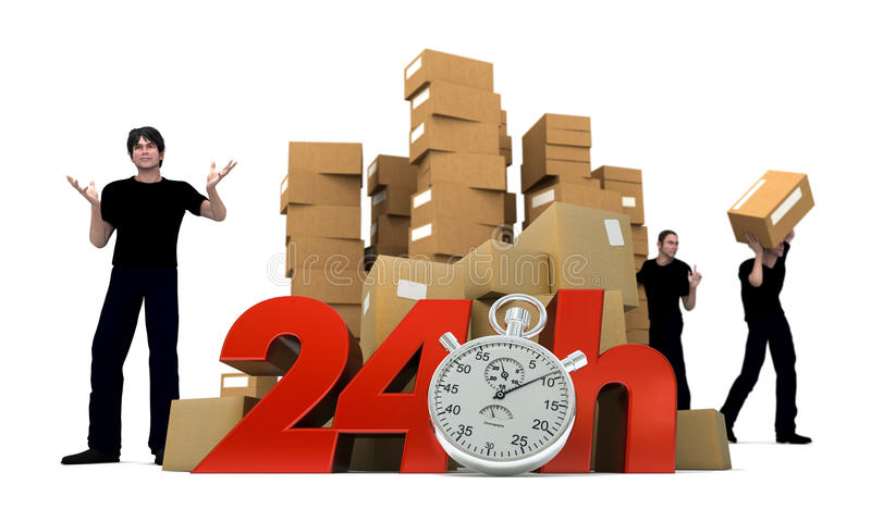 Moving in 24Hrs. 3D rendering of piles of cardboard boxes and three workers with the words 24 Hrs and a Chronometer royalty free stock image