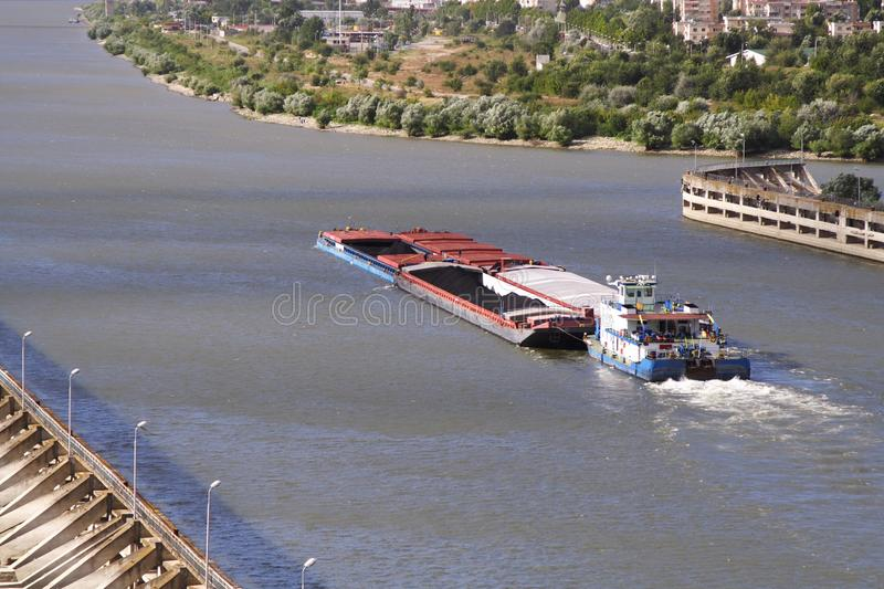Moving barge stock photography