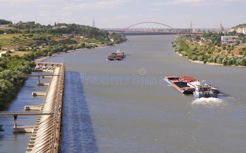 Moving barge stock photos