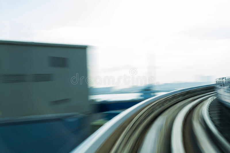 Moving blurred motion train track curved. Abstract background stock images