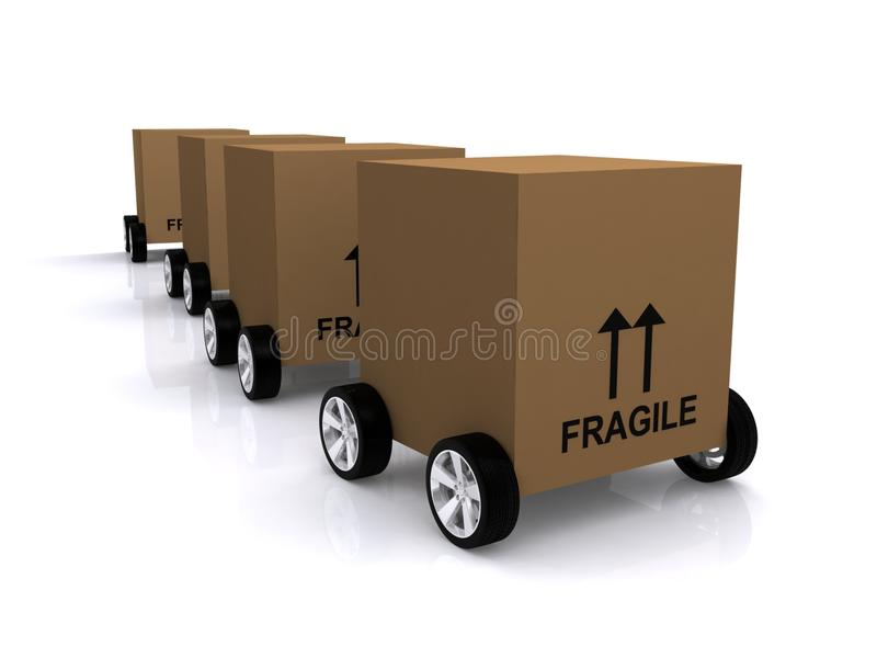 Moving boxes. Illustration of brown moving boxes on wheels isolated on white vector illustration