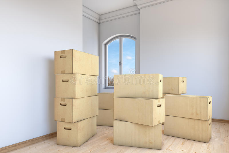 Moving boxes in apartment room vector illustration