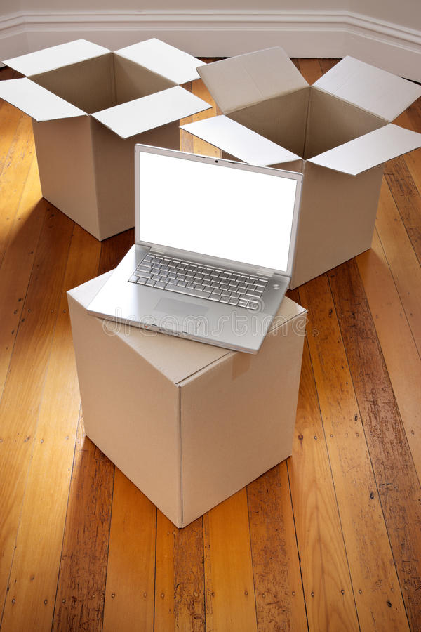 Download Moving Boxes Computer Removal Stock Photo - Image: 22851878