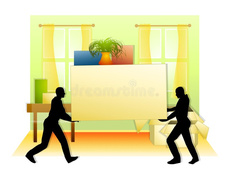 Moving Boxes Into House. An illustration featuring an indoor scene with a pair of men carrying a large box and other items into a house