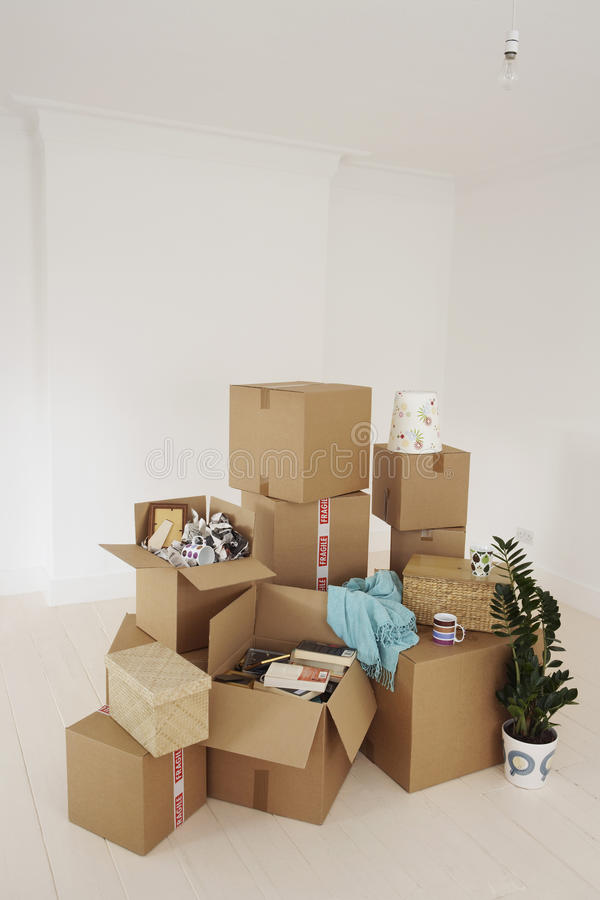 Moving Boxes In New House stock photo