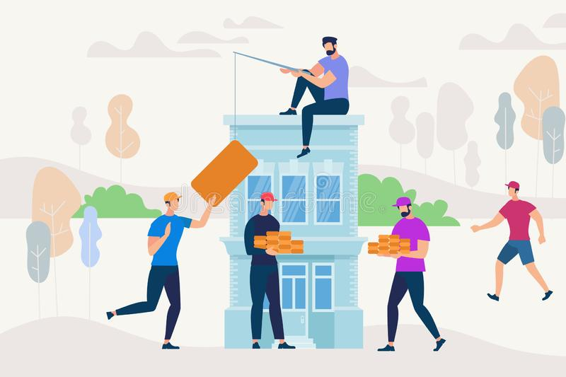 People Working Together to Build New House. stock illustration