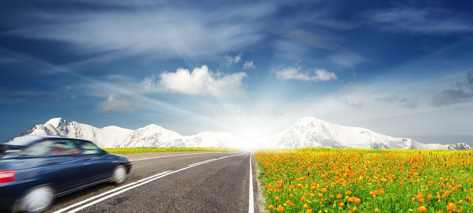 Download Moving car stock photo. Image of green, scenery, landscape - 18001166