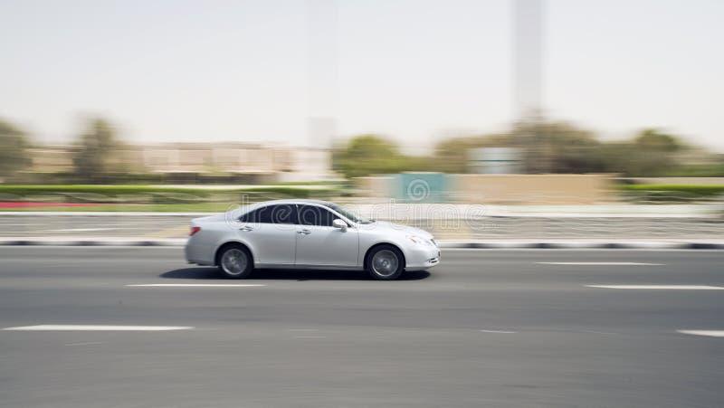 Moving car. Car speeding on a motorway royalty free stock image