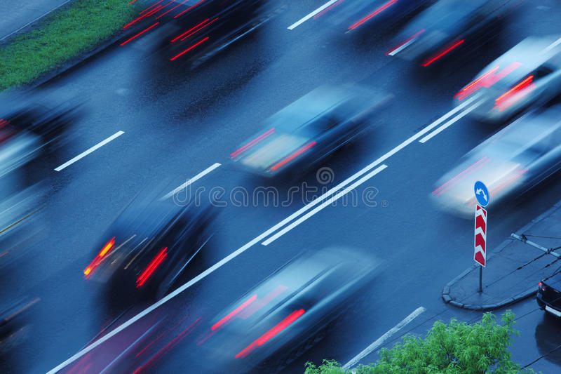 Moving cars, blurred motion stock photo