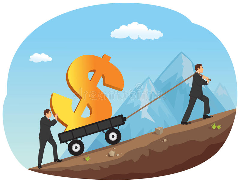 Moving a cart with money stock illustration
