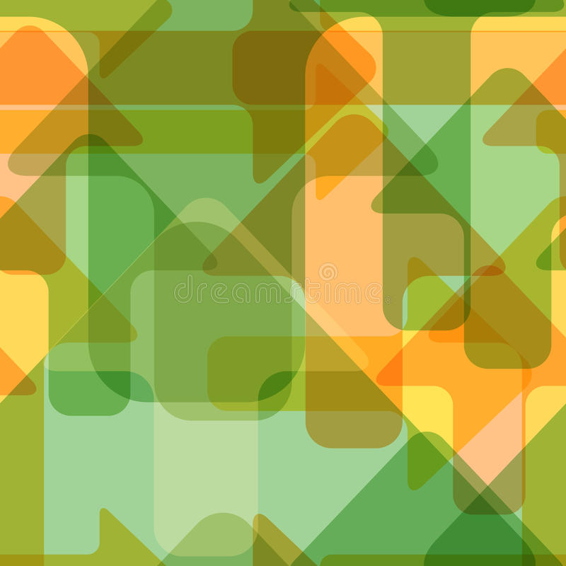 Moving colorful transparent arrows, seamless vector pattern royalty free illustration