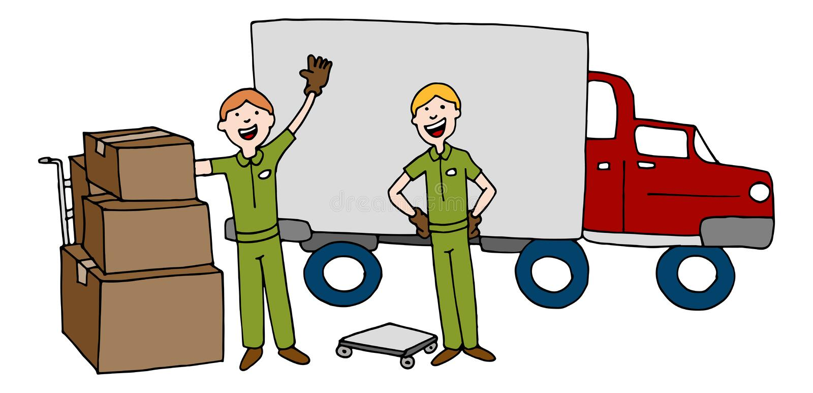 Moving Company Cartoon Team With Truck and Boxes stock illustration