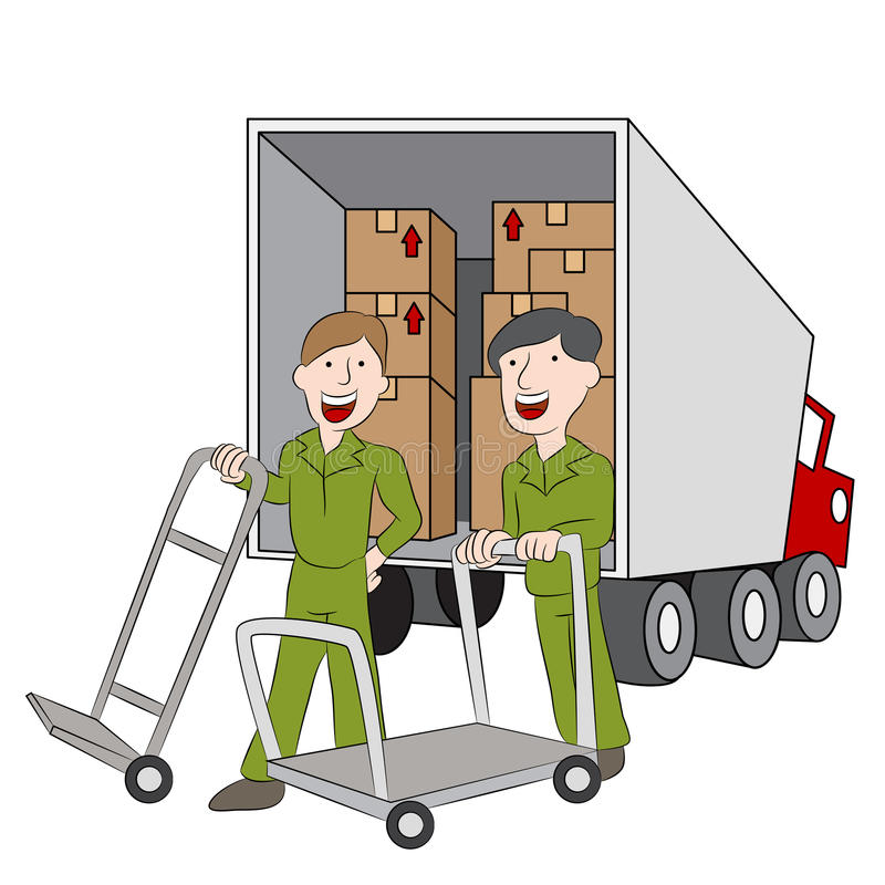 Moving Company Employees and Truck. An image of employees of a moving company with their truck vector illustration